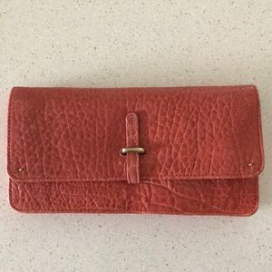 Anthropologie (Pilcro) orange leather wallet